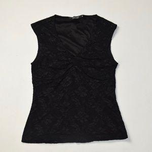 Black Lace Sleeveless Blouse